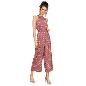 High Waist Belted Halter Polka Dot Jumpsuit